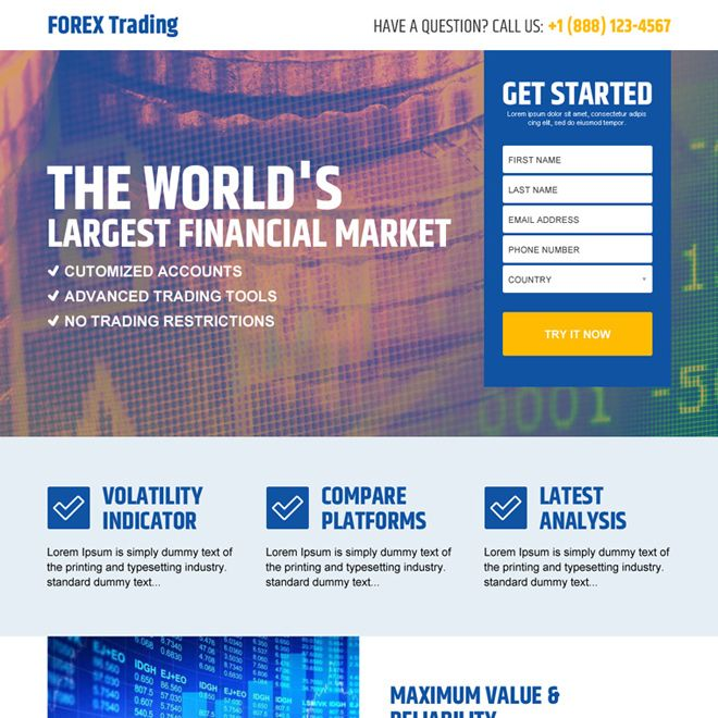 best forex trading financial market lead capture landing page design Forex Trading example ...
