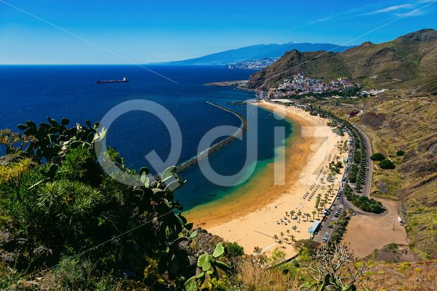 Qdiz Stock Photos | Aerial view to Las Teresitas Beach Spain, Tenerife,  #aerial #Atlantic #beach #blue #breakwater #Canary #coast #coastline #Cruz #island #landscape #LasTeresitas #mountain #nature #ocean #playa #Santa #sea #shore #sky #Spain #spring #Tenerife #view #water #yellow