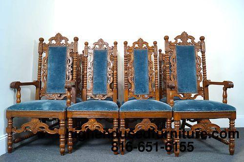 Strange Set Of 8 Antique Gothic Revival Oak Jacobean High Back Bralicious Painted Fabric Chair Ideas Braliciousco