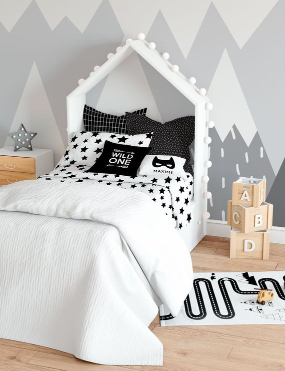 Stars Twin Bedding Set Twin Duvet Cover Black White Nursery Decor