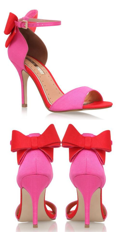 206f4e9a0 Kurt Geigr Gianna Pink high heel sandals with red bow on the heels