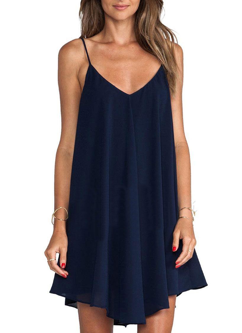 Spaghetti Strap Asymmetrical Shift Dress Fashion Casual