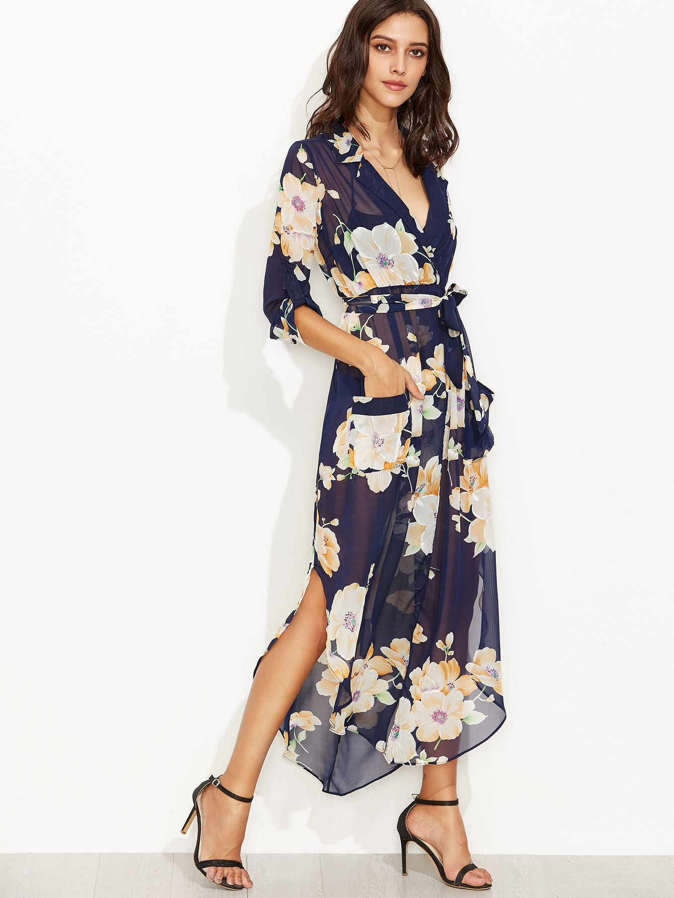 Floral Print Self Tie Surplice Wrap Sheer Dress | Chiffon kleid ...