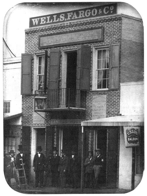 Officers Of Wells Fargo Co Stand Before The Firm S First Office