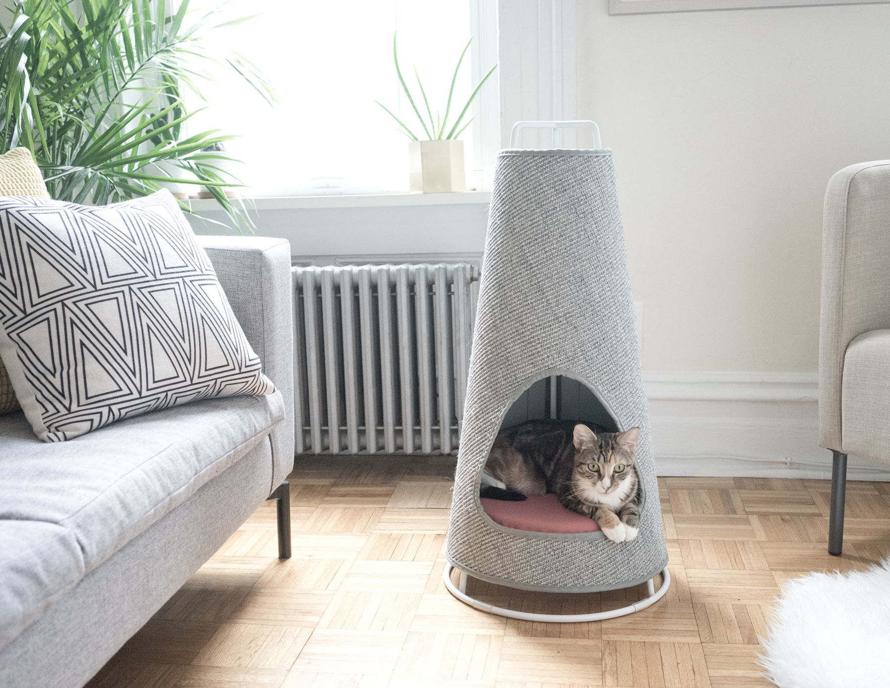 Modern Cat Bed Furniture The Cone A Sleek Modern Cat Scratching Post That Doubles