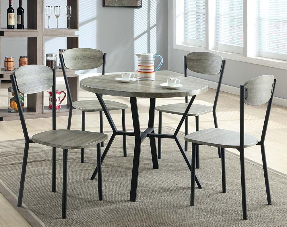 Blake 5 Piece Dinette Set Grey Round Dining Table Round Dining