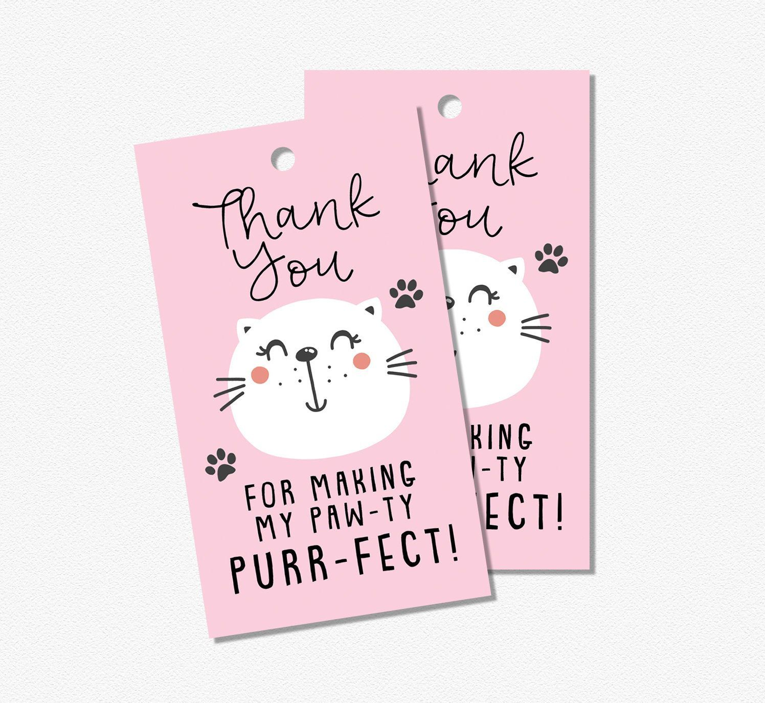 Cat birthday party favor tags // kitty cat theme, girl
