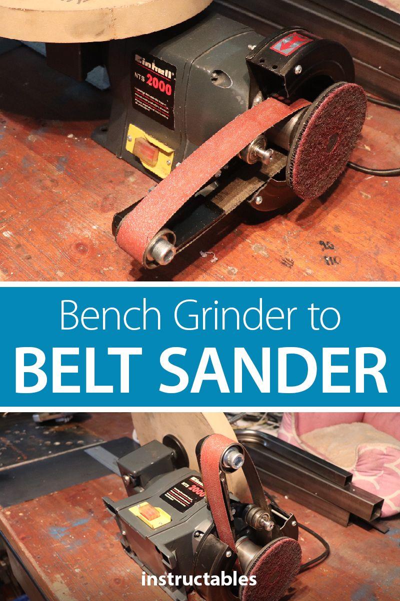 One Hour Bench Grinder To Belt Sander Build Bench Grinder Diy Belt Sander Knife Making Tools