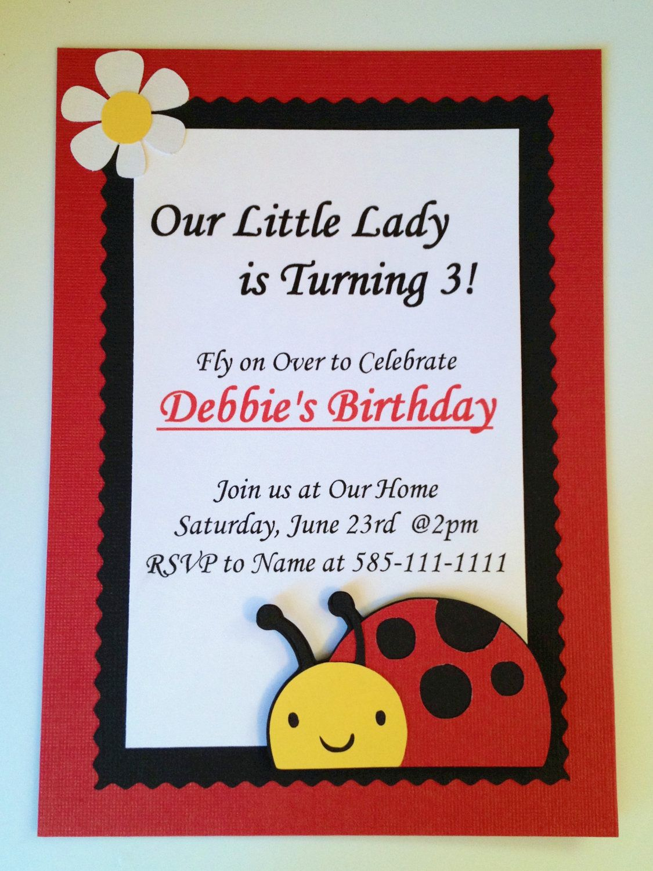 LadyBug Birthday Party Invitations Set of by ArtfulCreationsByDeb ...