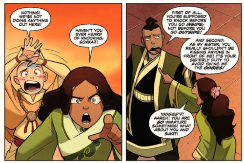 Something I love about 'The Promise' comic, it shows what happens right after Aang and Katara kiss at the end of Sozin's Comet. Hahaha Sokka's right about knocking though...
