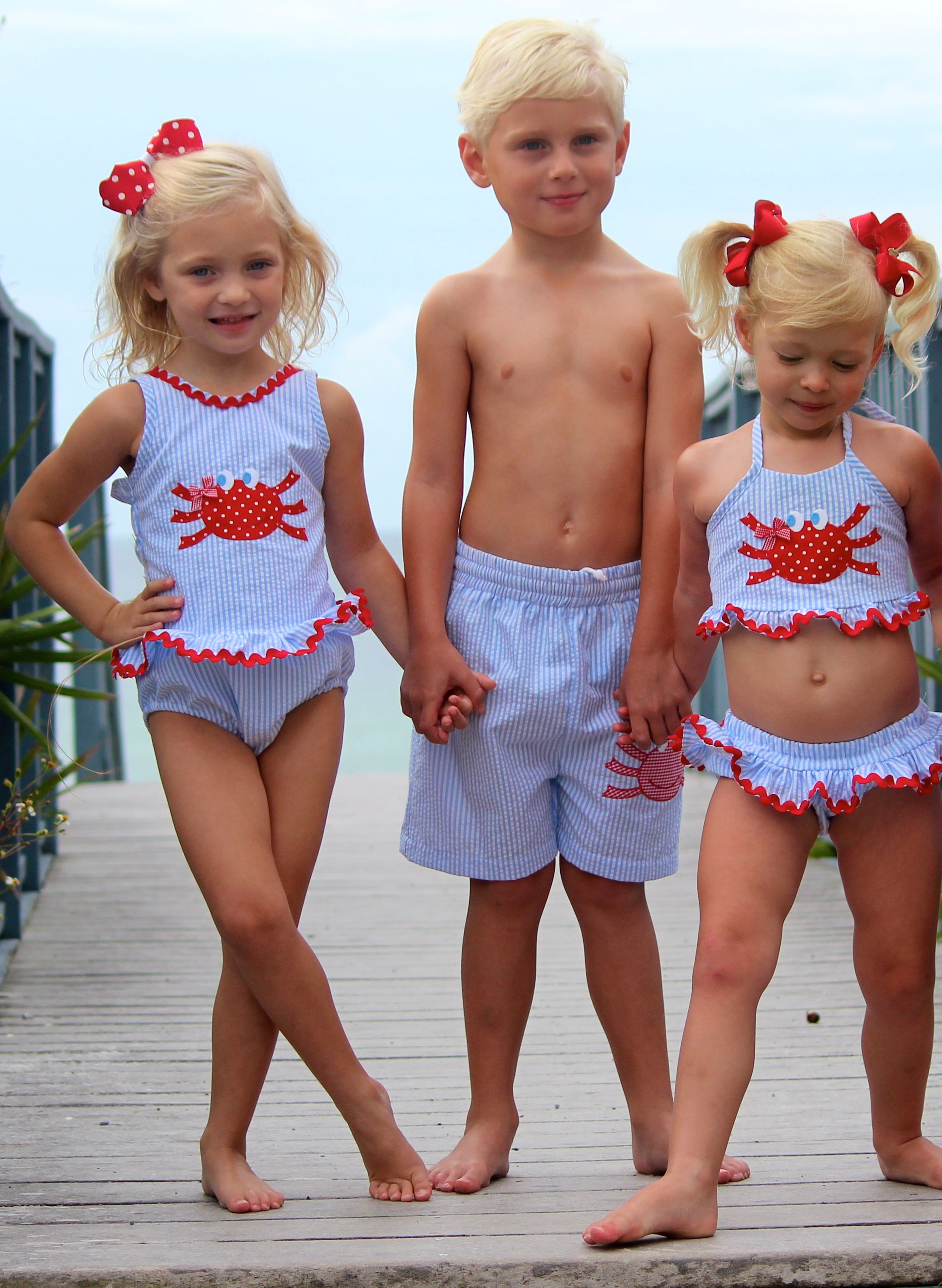 Seersucker Crab Swimsuits from Smocked Auctions. Available in ...