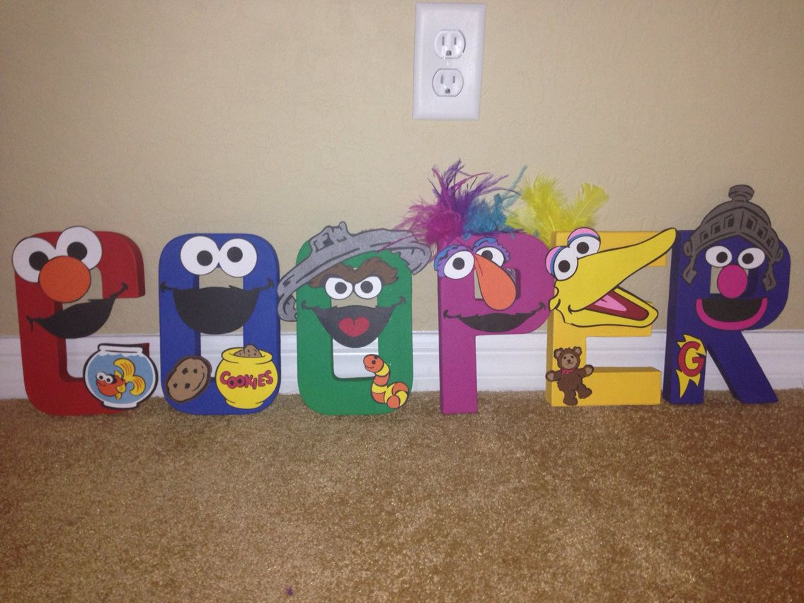 DIY Sesame Street inspired painted letters by PrettyPartiesndPaint