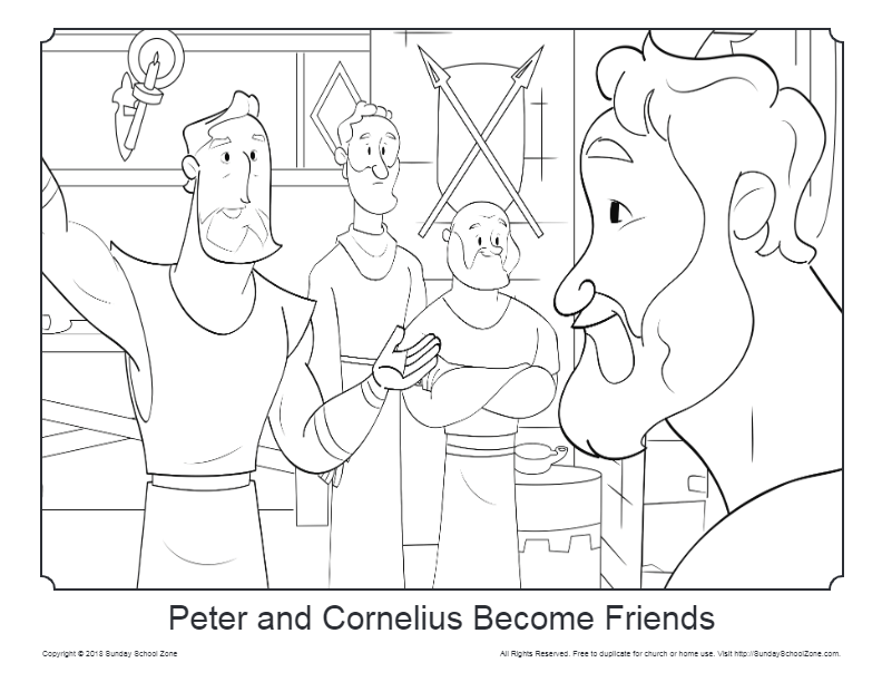 Free Peter and Cornelius Coloring Page on Sunday School