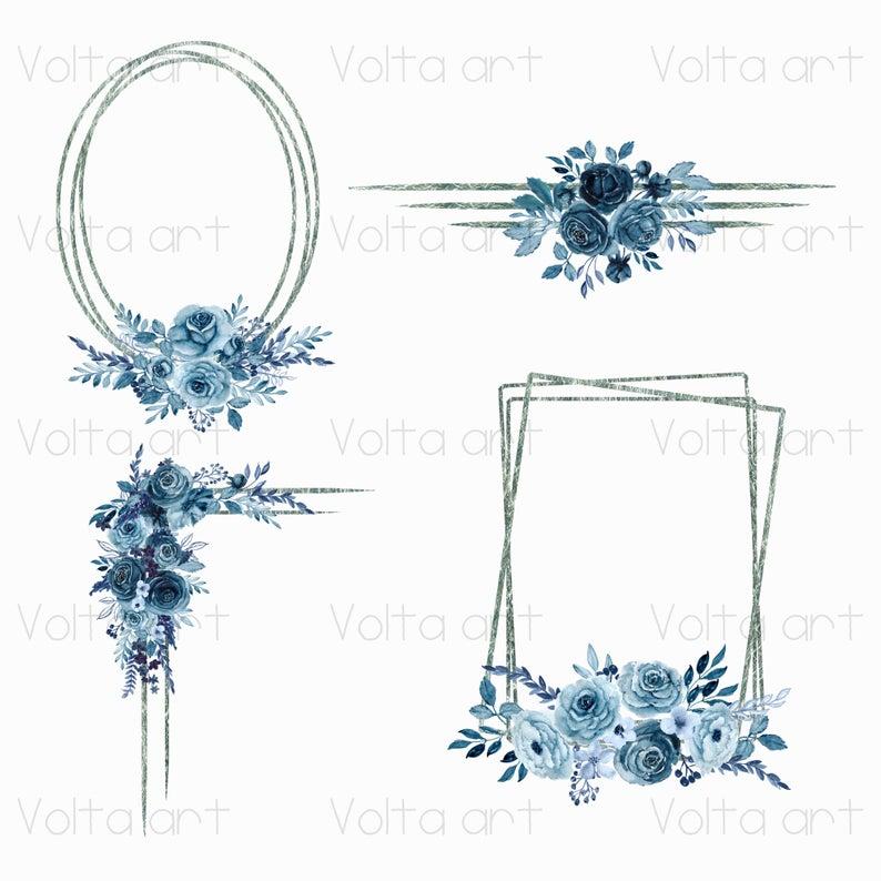 Watercolor Floral Geometric Silver Indigo Peony Frames Angles Etsy Floral Watercolor Floral Wreath Watercolor Clip Art Borders