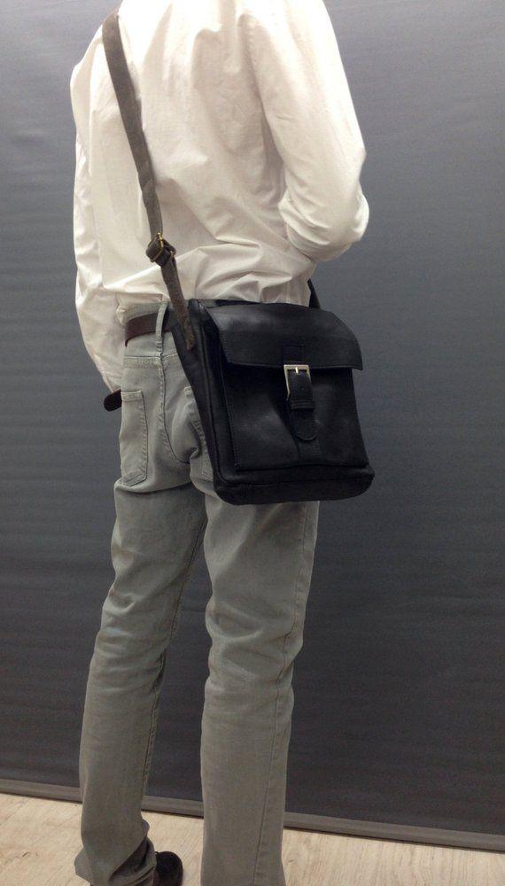 d4298bc2ab91 Black leather messenger Small Men s  bagsandpurses  messenger  EtsyMktgTool   black  leathermessenger  smallmessenger  small