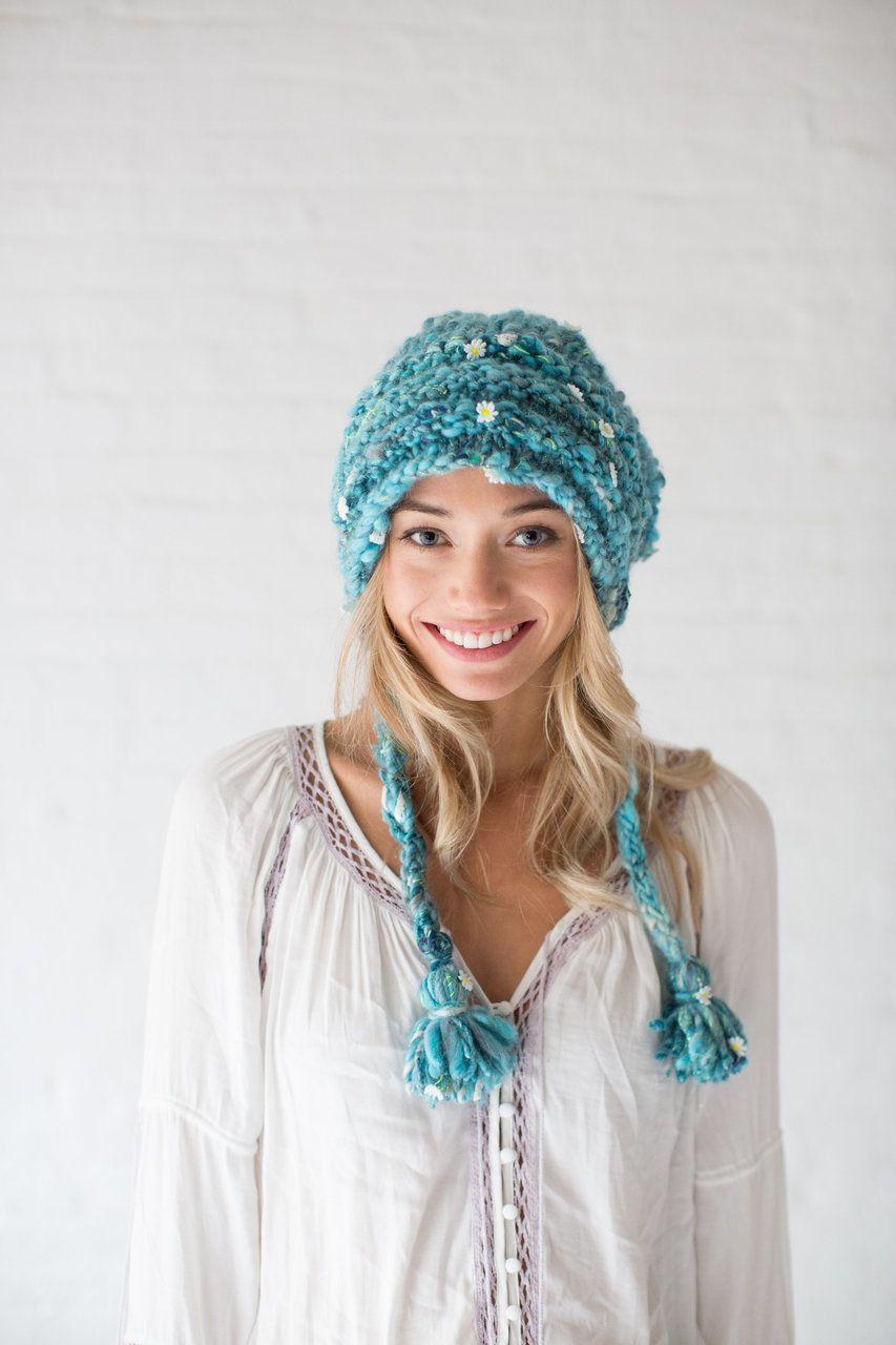 Knit Collage Magical Daisy Hat Knitting Pattern PDF | Medias y Gorros