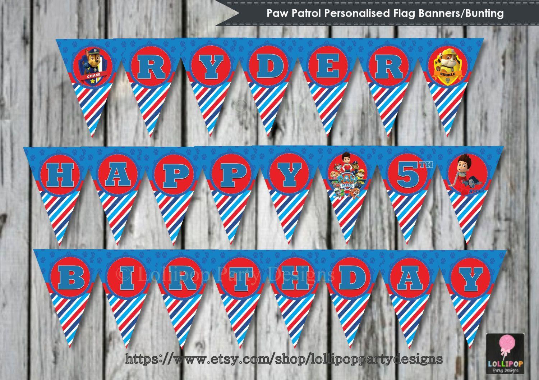 Paw Patrol Flag Banners Personalised Printable Bunting Digital Print Diy Party Kids Boys Decoration Custom Hy Birthday Banner By