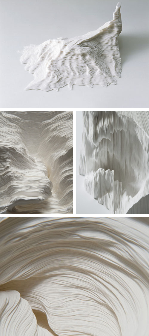 Linear Actions - sheets of paper cut freehand, one by one, then stacked. By Noriko Ambe