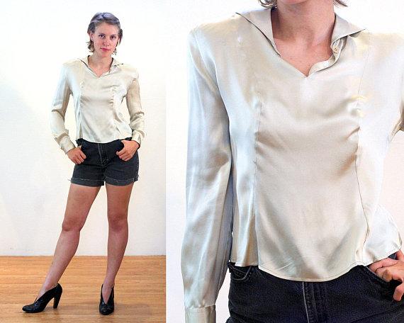 6a6349353f 80s Giorgio Armani Blouse M, White Champagne Silk Italian Designer ...