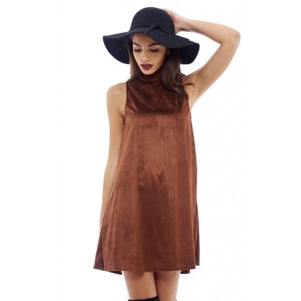AX Paris Suede Swing Dress (395 SEK) ❤ liked on Polyvore featuring dresses, ax paris dresses, tent dress, brown suede dress, brown dress and suede dress