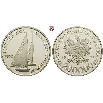 Polen Volksrepublik 200000 Zlotych 1991 Pp Volksrepublik 1952 1989 200000 Zlotych 1991 Segeln Olympiade Barcelona 1992 Coins Polen Munzen Munze