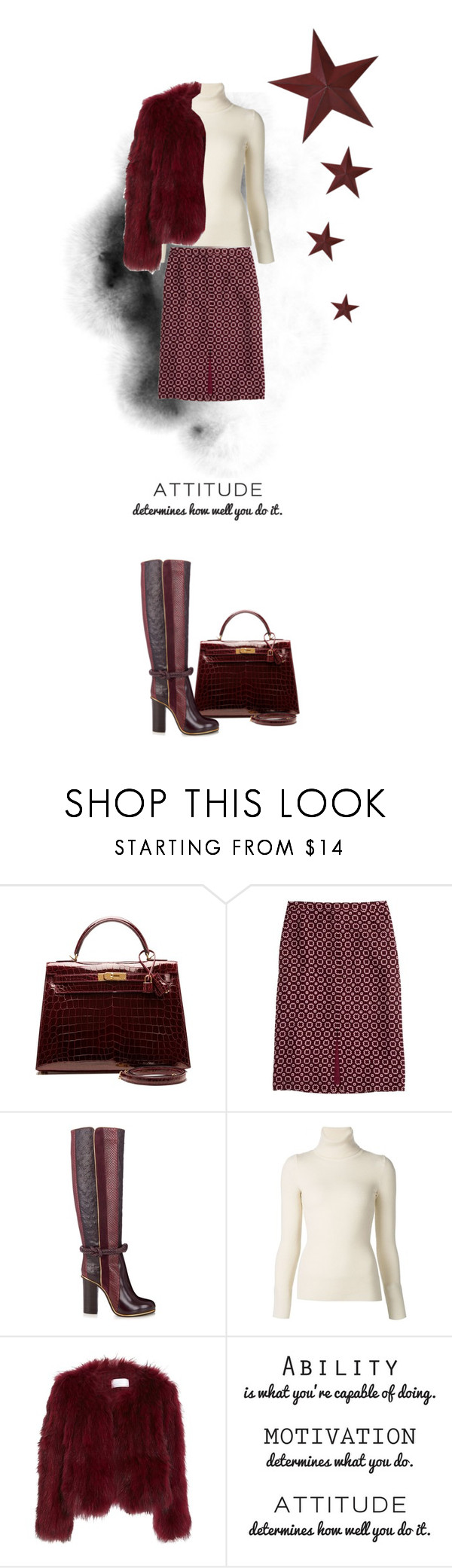 """""""burgundy chic"""" by mrs-campbell ❤ liked on Polyvore featuring Hermès, J.Crew, Lanvin, Emanuel Ungaro and Transpac"""