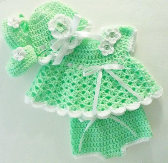 Crochet Kiwi Green Baby Girl Dress Set Layette with Bloomers Hat and ...