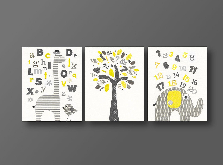 Nursery Art Print Baby Boy Wall Alphabet Giraffe Numbers Elephant Bird Tree Set Of Three 8x10 Prints J Rend
