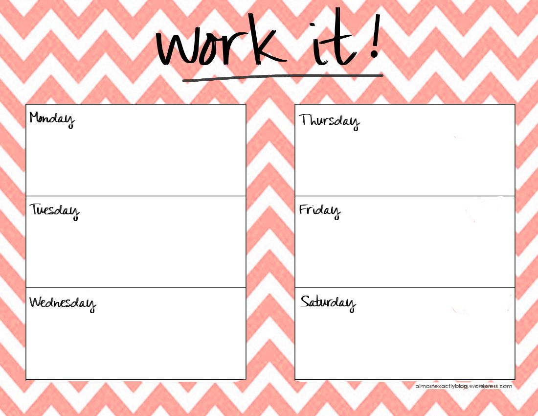 Weekly Workout Schedule Template  Google Search  Just Run