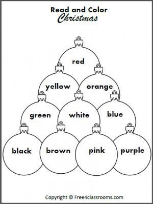 free read and color the christmas ornaments students practice reading color words with this fun. Black Bedroom Furniture Sets. Home Design Ideas