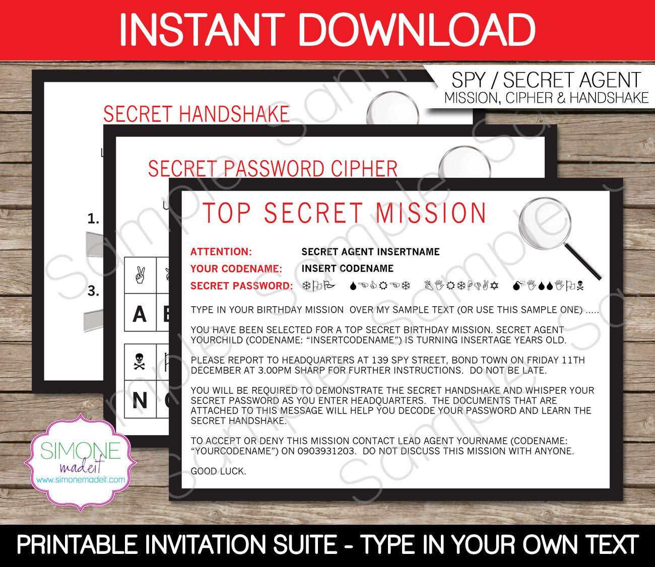 Spy Invitation Template - Secret Agent Birthday Party - Secret ...
