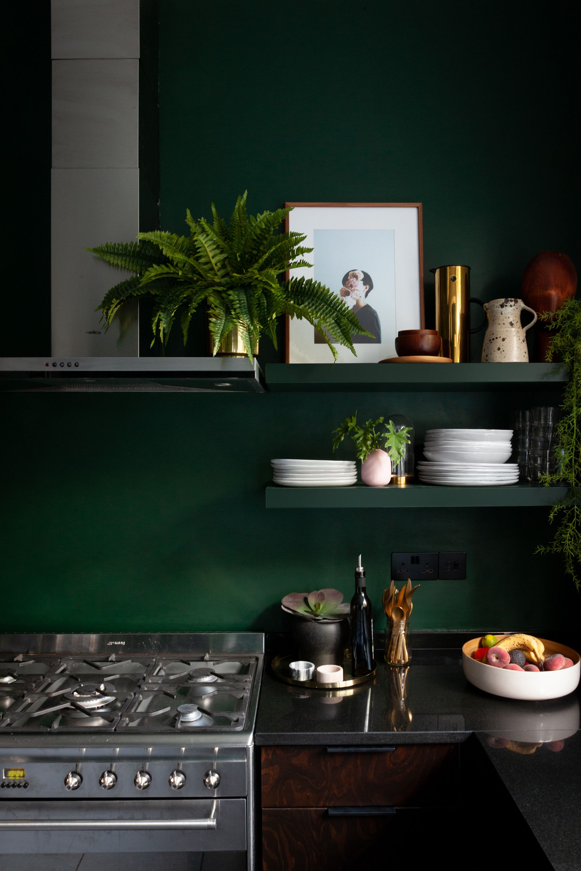 Wall Shelves Painted In A Valspar Deep Green For Kitchen Refurb With Helloflora In London Green Kitchen Beautiful Bedrooms Master Interiors Addict