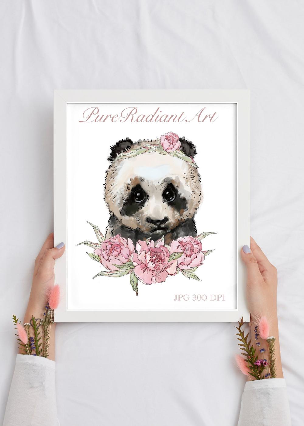 Baby Panda Print, Panda Bear Flower Crown, Nursery Wall Art, Woodland Animal Prints, Baby Animals, Girls Room Decor, Floral Printable Art