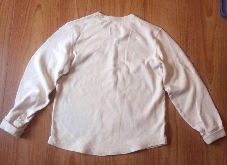 Eddie Bauer S Beige Thick Waffle Knit Cotton Crewneck Shirt