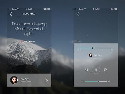 Video Stream App for iOS sketch App design, Design
