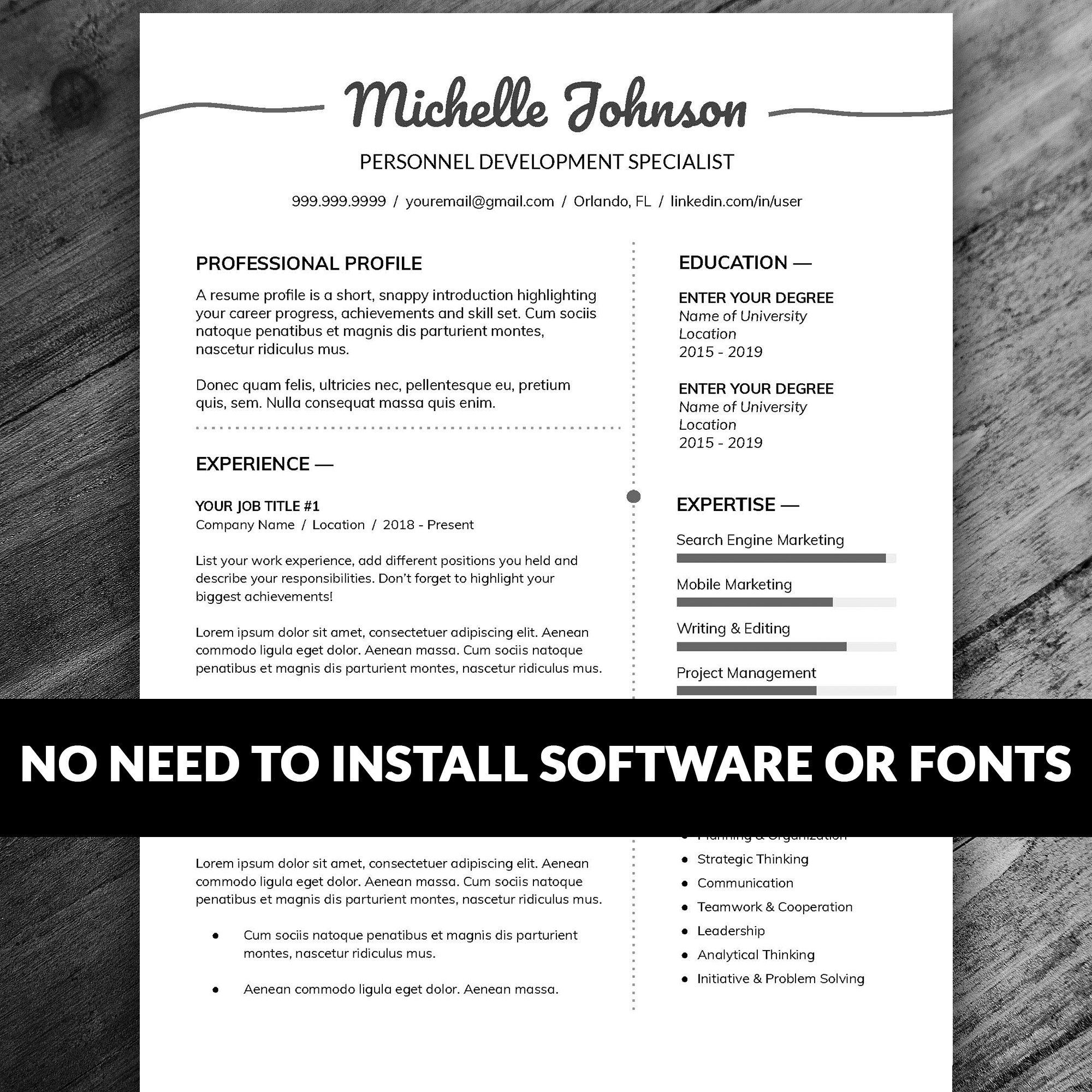Professional Resume Template Cover Letter Instant