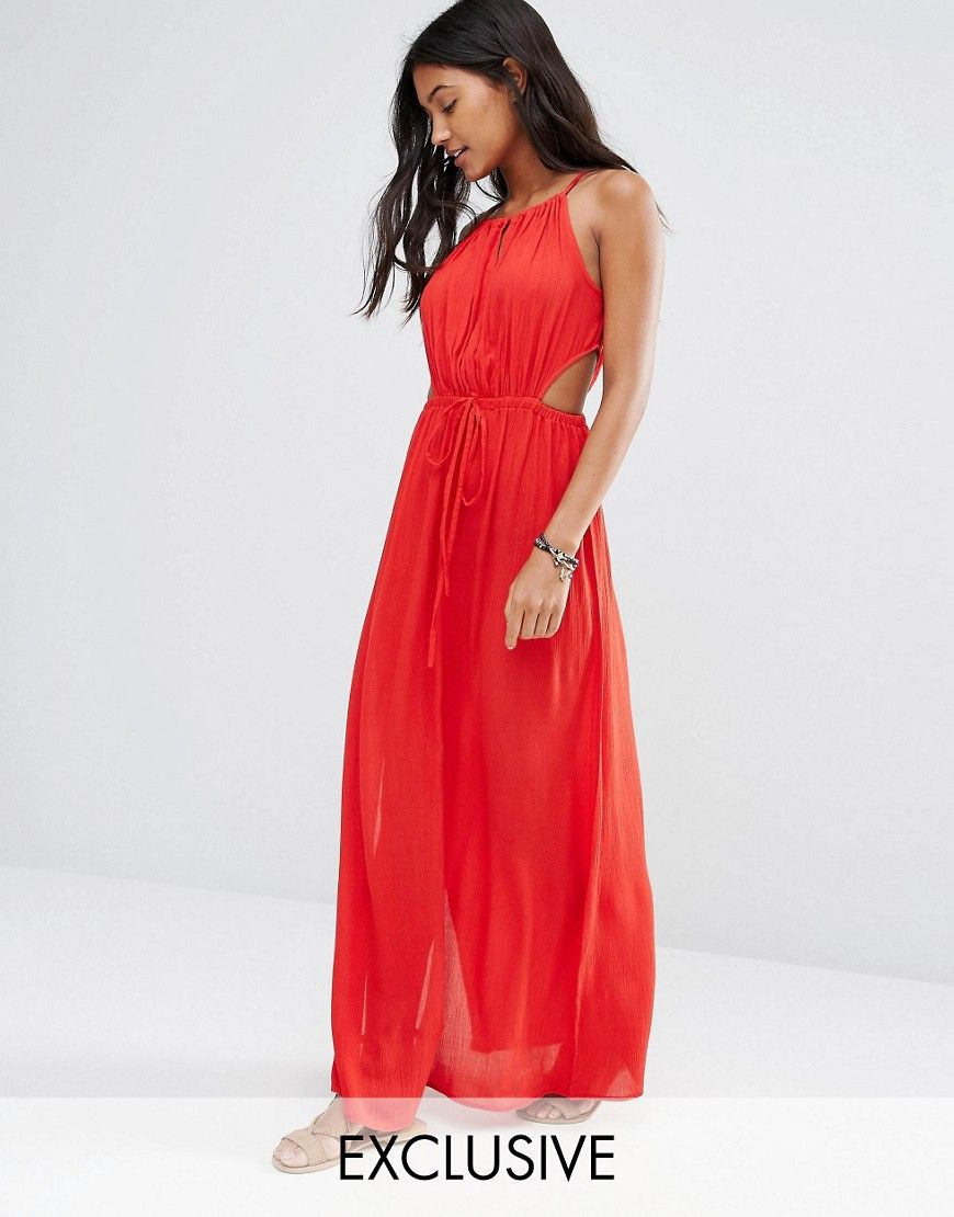 Image 2 of Akasa Red Keyhole Cut Out Beach Maxi Dress | IN STORE ...
