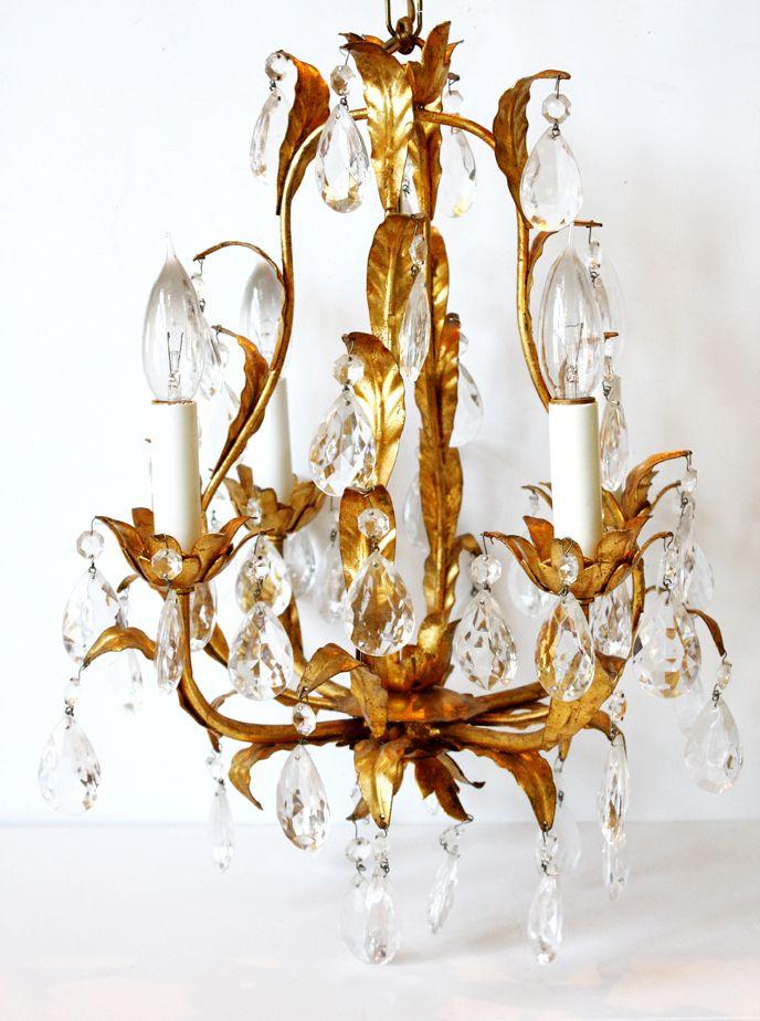 Antique Italian Tole Leaves Gilt Crystal Prisms Chandelier