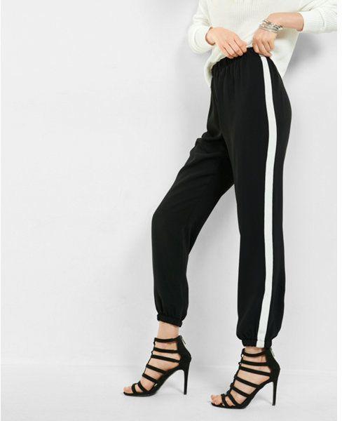 0da21bb986 Express Womens Dressy Track Pant With Side Stripes Black X Small ...