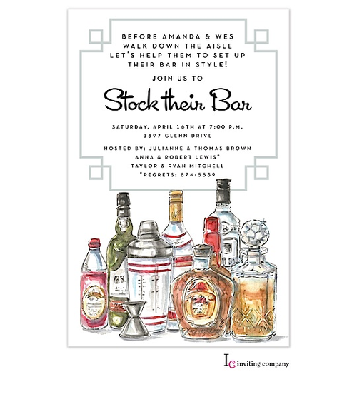 Stock The Bar Party Invitations For Bridal And Wedding Shower Also Housewarming Open House Parties