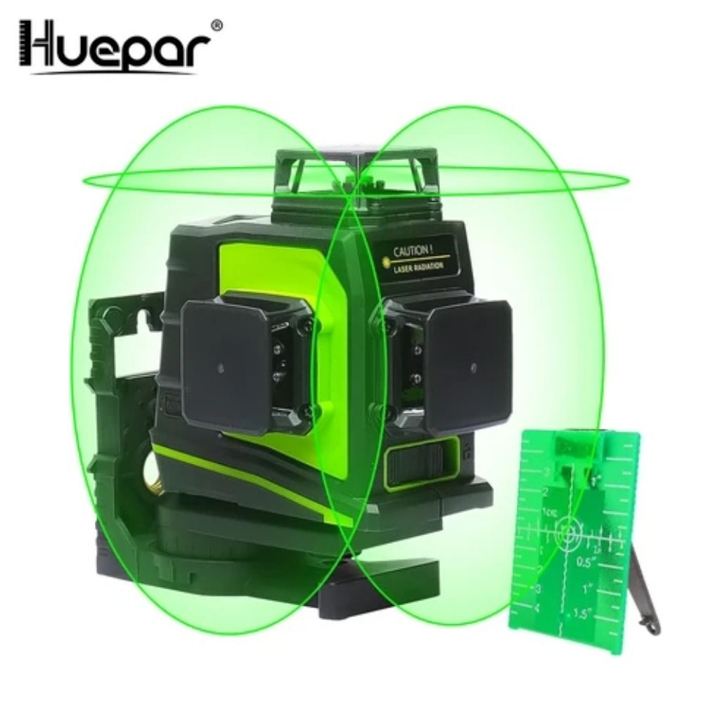 Huepar 12 Lines 3d Cross Line Laser Level Green Laser Beam Line Self Leveling 360 Vertical Horizontal Cross Super Powerful
