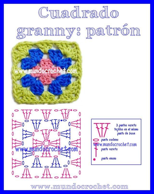 Como tejer un cuadrado granny a Crochet | Motivy | Pinterest | Como ...
