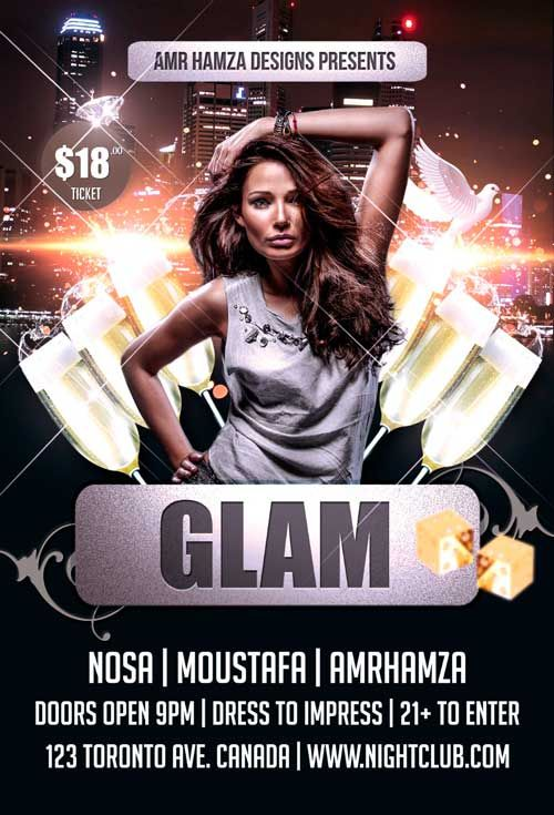 Glam Party Free Psd Flyer Template      Free Psd