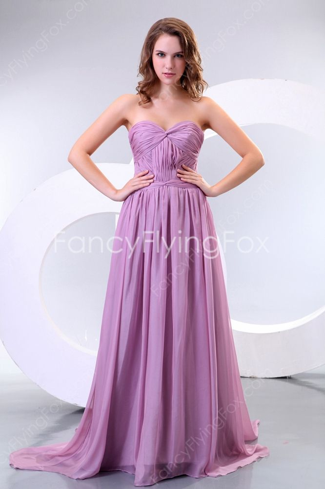 Flattering Lilac Chiffon Shallow Sweetheart Neckline A-line Floor ...