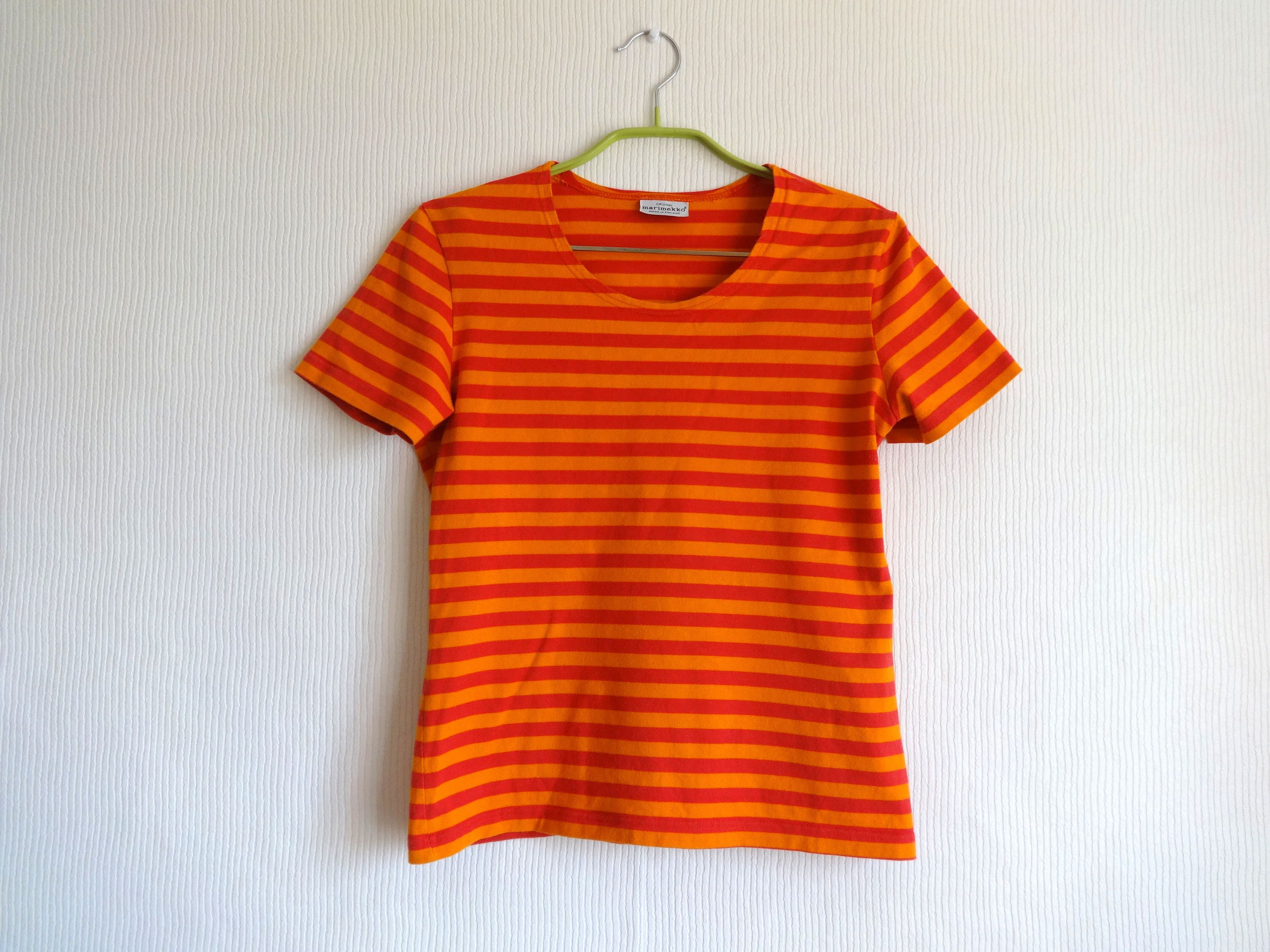 53829f5b MARIMEKKO Orange & Pink Striped T- Shirt Horizontal Stripes Cotton Jersey  Tee Women's Marimekko Clothing S Size Tee Nautical Made in Finland by ...