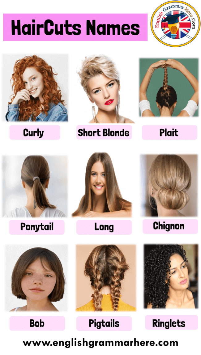 Haircut Names With Pictures For Ladies Hairstyle Names For Girls Women Table Of Contents Haircut Names With P In 2020 Hairstyle Names Messy Hair Look Girl Hairstyles