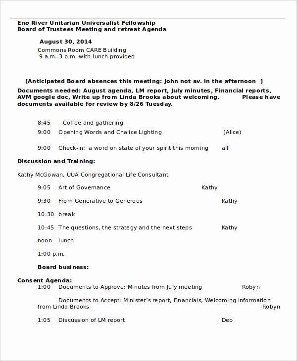 Retreat Schedule Template Luxury Retreat Agenda Template 7 Free