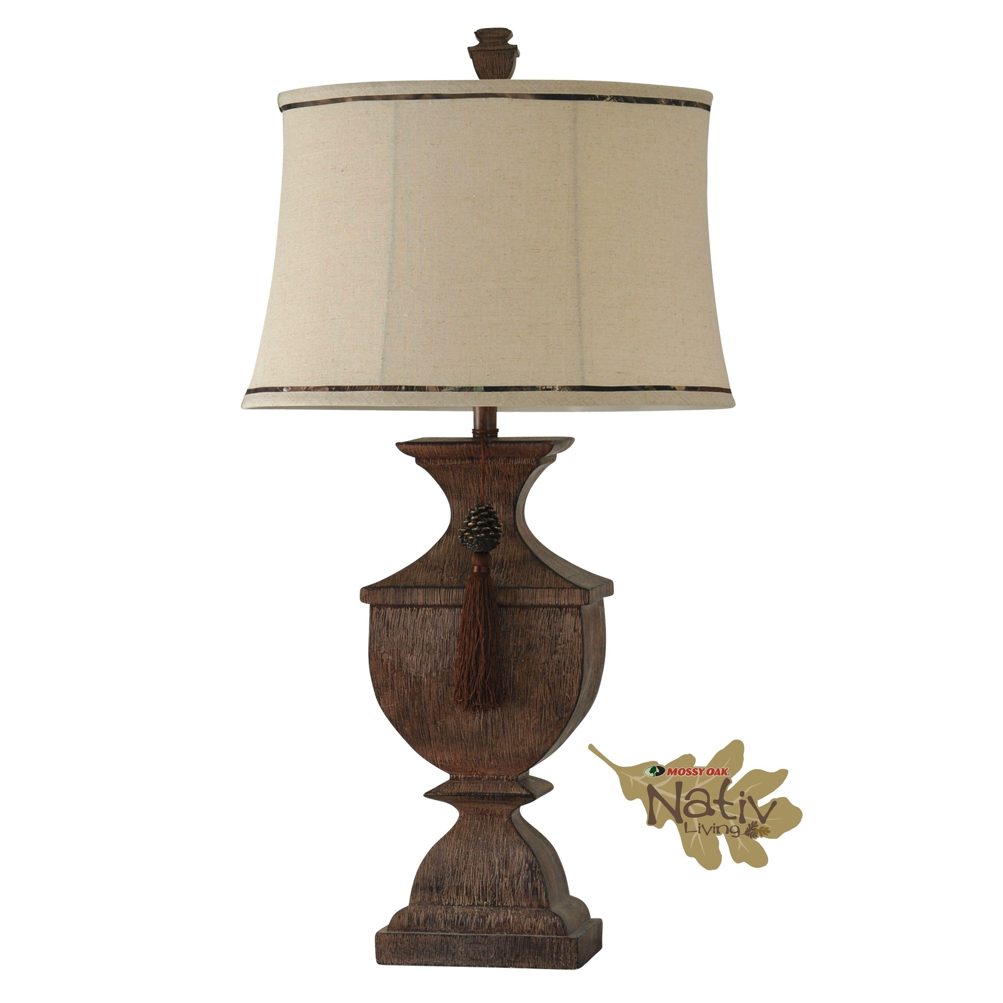 Mossy Oak Cedar Falls Table Lamp Beige Softback Fabric