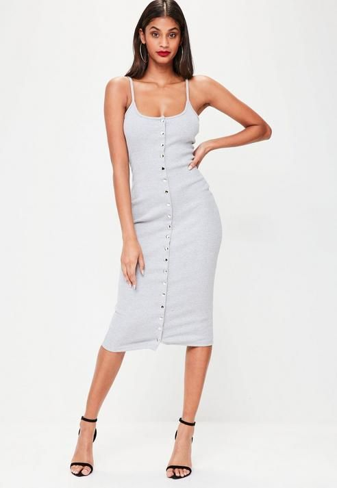 07deae06e2de71 Missguided Grey Strappy Ribbed Popper Midi Dress