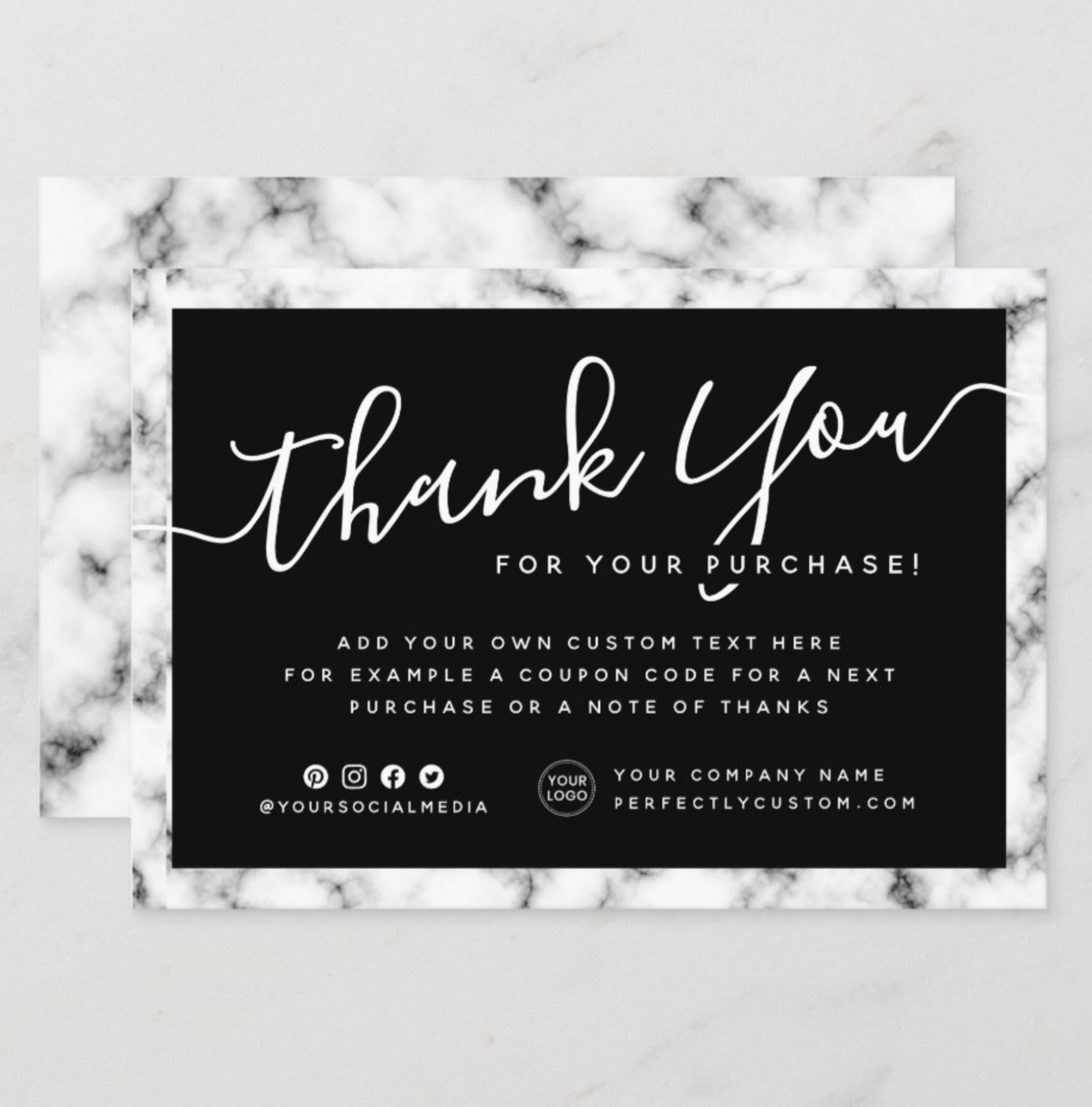 Marble Border Logo Elegant Script Thank You Note Zazzle Com In 2021 Business Thank You Cards Custom Thank You Cards Thank You Notes